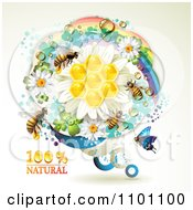 Clipart Honey Bees Over Natural Honeycombs In A Round Rainbow Floral Frame 2 Royalty Free Vector Illustration by merlinul