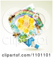 Clipart Honey Bees Over Natural Honeycombs In A Diamond Rainbow Floral Frame 1 Royalty Free Vector Illustration by merlinul