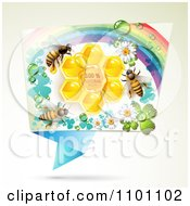 Clipart Honey Bees Over Natural Honeycombs In A Rectangular Rainbow Floral Frame Royalty Free Vector Illustration by merlinul