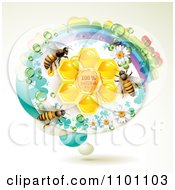 Clipart Honey Bees Over Natural Honeycombs In An Oval Rainbow Floral Frame Royalty Free Vector Illustration by merlinul