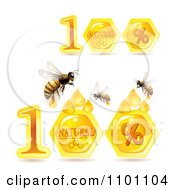 Clipart Honey Bees And 100 Percent Natural Combs Royalty Free Vector Illustration by merlinul