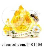 Clipart Honey Bee Overa Daisy Guarantee Banner Drops And Honeycombs Royalty Free Vector Illustration by merlinul