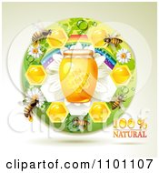 Clipart Honey Bees With A Jar And Honeycombs In A Round Rainbow Floral Frame Royalty Free Vector Illustration by merlinul