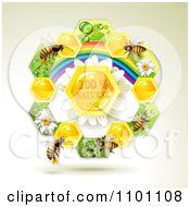 Clipart Honey Bees Over Natural Honeycombs In A Rainbow Floral Frame 3 Royalty Free Vector Illustration by merlinul
