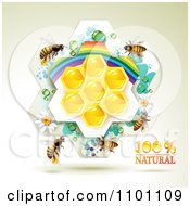Clipart Honey Bees Over Natural Honeycombs In A Rainbow Floral Frame 1 Royalty Free Vector Illustration