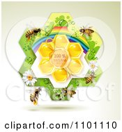 Clipart Honey Bees Over Natural Honeycombs In A Rainbow Floral Frame 2 Royalty Free Vector Illustration