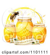 Clipart Honey Bee Over Three Natural Jars Of Honey And A Guaranteed Banner Royalty Free Vector Illustration by merlinul #COLLC1101111-0175