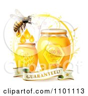 Clipart Honey Bee With Jars Of Honey And A Guaranteed Banner Royalty Free Vector Illustration