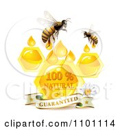 Clipart Honey Bees Over Honeycombs And Drops With A Daisy And Guaranteed Banner Royalty Free Vector Illustration
