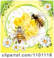 Clipart Honey Bees Over Honeycombs In A Diasy Frame On Yellow Royalty Free Vector Illustration