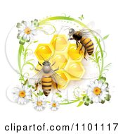Clipart Honey Bees Over Honeycombs In A Green Daisy Frame Royalty Free Vector Illustration by merlinul