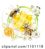 Clipart Honey Bees Over Honeycombs With A Daisy With A Natural Wax Seal Royalty Free Vector Illustration