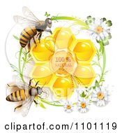 Clipart Honey Bees Over Natural Honeycombs In A Green Daisy Frame Royalty Free Vector Illustration