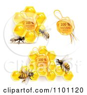 Clipart Honey Bees With Natural Honeycombs And Wax Seal Royalty Free Vector Illustration