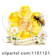Clipart Honey Bee With A Natural Honeycomb And Guaranteed Banner Royalty Free Vector Illustration