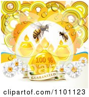 Clipart Honey Bees With Drops Combs And Daisies With Dew And A Guaranteed Banner Royalty Free Vector Illustration