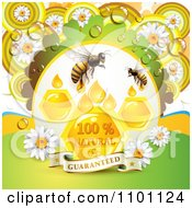 Clipart Bees With Honey Drops Combs And Daisies With Dew And A Guaranteed Banner Royalty Free Vector Illustration