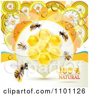 Clipart Honey Bees With Combs And Daisies Royalty Free Vector Illustration