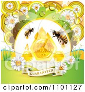 Clipart Honey Bees With Drops A Comb And Daisies With Dew And A Guaranteed Banner Royalty Free Vector Illustration