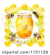 Clipart Bees Over Honeycombs With A Daisy Frame And Jar Of Natural Honey Royalty Free Vector Illustration by merlinul #COLLC1101129-0175