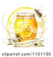 Clipart Honey Bees Over A Jar With A Guaranteed Banner Royalty Free Vector Illustration by merlinul #COLLC1101130-0175