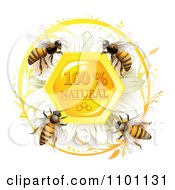 Clipart Honey Bees Over A Natural Honeycombs With A Daisy Royalty Free Vector Illustration