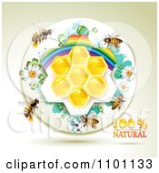 Clipart Honey Bees Over Natural Honeycombs In A Round Rainbow Floral Frame 3 Royalty Free Vector Illustration