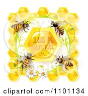 Clipart Honey Bees Over Natural Honeycombs In A Daisy Frame Royalty Free Vector Illustration