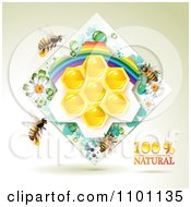 Clipart Honey Bees Over Natural Honeycombs In A Diamond Rainbow Floral Frame 3 Royalty Free Vector Illustration