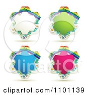 Clipart White Green Blue And Pink Rainbow Floral Shaped Frames Royalty Free Vector Illustration