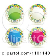 Clipart Green White Blue And Pink Rainbow Floral Shaped Frames Royalty Free Vector Illustration