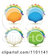 Clipart Sparkly Orange Blue White And Green Rainbow Dewy Drop Shapeed Frames Royalty Free Vector Illustration