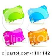 Clipart Sparkly Green Blue Pink And Orange Dewy Retangular Frames Royalty Free Vector Illustration