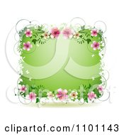 Green Spring Time Frame With Butterflies Vines And Pink Blossoms