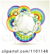 Clipart White Floral Shaped Frame Over Dewy Rainbow Circles Royalty Free Vector Illustration