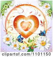 Clipart Circular Floral Heart Vine Frame With Daisies Ladybug And Butterflies 1 Royalty Free Vector Illustration