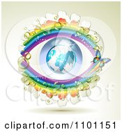 Clipart Butterfly With Dew Clovers And Rainbows Around An Eye Globe Royalty Free Vector Illustration by merlinul