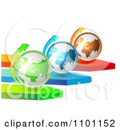 Clipart 3d Green Blue And Orange Globes With Arrows Royalty Free Vector Illustration by merlinul