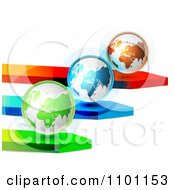 Clipart 3d Green Blue And Orange Globes On Arrows Royalty Free Vector Illustration by merlinul