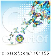 Clipart Colorful Butterflies With A Circle Rainbow Over Blue With White Dots Royalty Free Vector Illustration