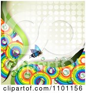 Clipart Butterfly With Circular Rainbows And Dew On Off White Halftone Dots Royalty Free Vector Illustration