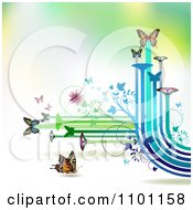 Clipart Butterflies With Vines And Color Trails On Gradient 1 Royalty Free Vector Illustration by merlinul