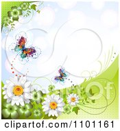 Clipart Spring Butterflies With Clovers Vines And Daisies Over Blue Royalty Free Vector Illustration by merlinul
