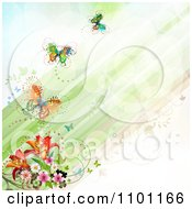 Diagonal Green Streaks With Flowers And Butterflies