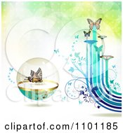Butterflies With Vines And Color Trails On Gradient 4