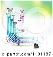 Butterflies With Vines And Color Trails On Gradient 2