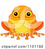 Clipart Happy Cute Golden Toad Royalty Free Vector Illustration