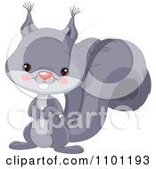 Clipart Happy Cute Gray Squirrel Royalty Free Vector Illustration by Pushkin
