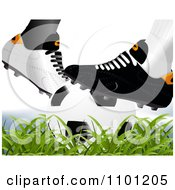 Clipart Opponent Soccer Cleats With A Ball Royalty Free Vector Illustration