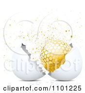 Clipart Golden Golf Ball In A Cracked Egg Shell With Gold Splatters On White Royalty Free Vector Illustration